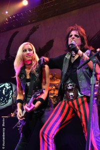 Rock and roll legend Alice Cooper, at right, along with guitarist, Nita Strauss, rocked the Toyota Center as the special guest to Motley Crue on Saturday (Sept. 5, 2015) in Houston. (Matthew Fortenberry / The Orange Leader)