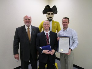 Photo courtesy of Sen. Robert Nichols office  Senator Robert Nichols and Representative Dade Phelan presented Dr. Jay Killgo, Vidor ISD Superintendent a proclamation and a flag flown over the Texas State Capitol in honor of Dr. Killgo being named Region V Superintendent of the Year. He was honored for his service and dedication to not only his school district but also the local community.