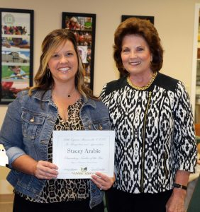 Teacher of the Year – Stacey Arabie was presented to the Board by Superintendent Dr. Pauline Hargrove.